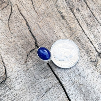 Sterling Lapis Oval Studs