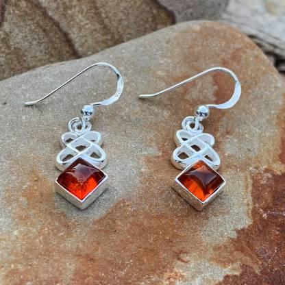 Sterling Celtic Amber Earrings