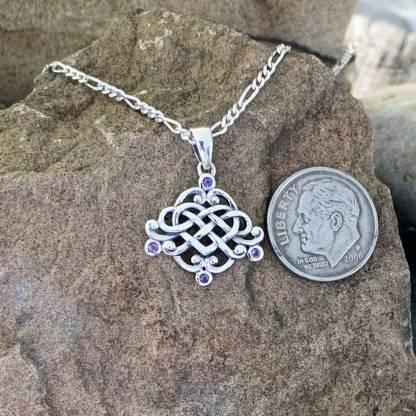 Celtic Heart & Amethyst Pendant