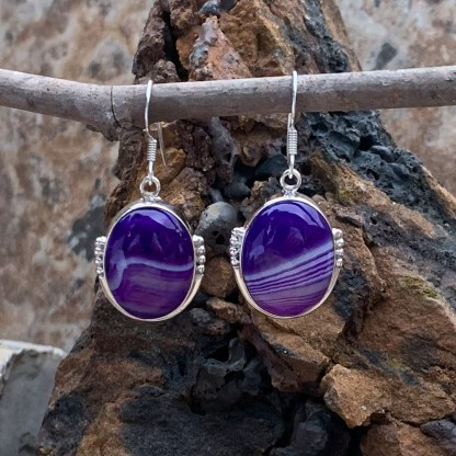 Indigo Botswana Agate Earrings