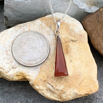 Carnelian Sterling Triangular Pendant