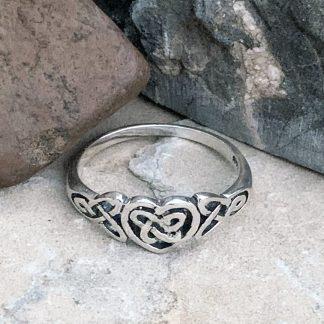 Sterling Celtic Heart Ring