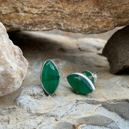 Green Onyx Marquise Studs