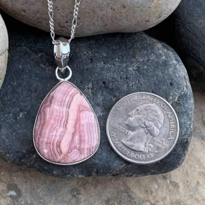 Pear-Shaped Rhodochrosite Sterling Pendant