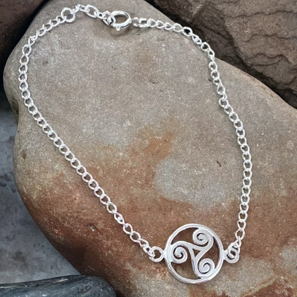 Triskelion Sterling Silver Bracelet