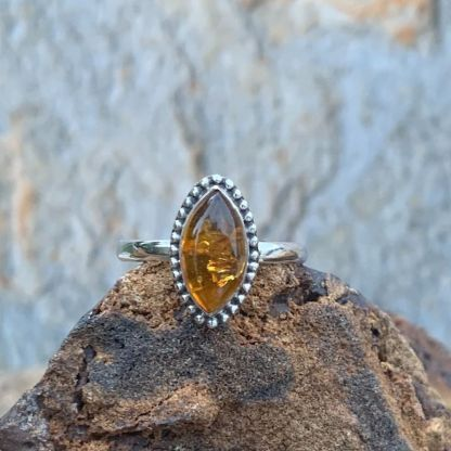 Amber & Sterling Marquise Ring