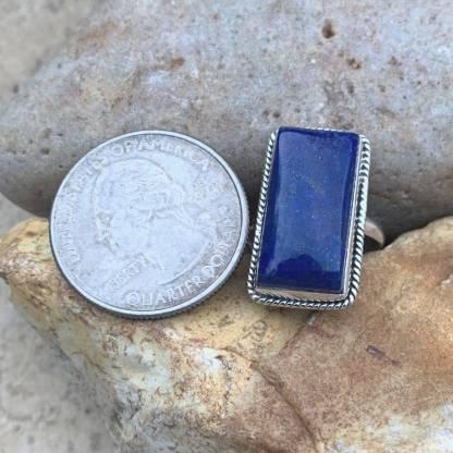 Lapis & Sterling Rectangular Ring