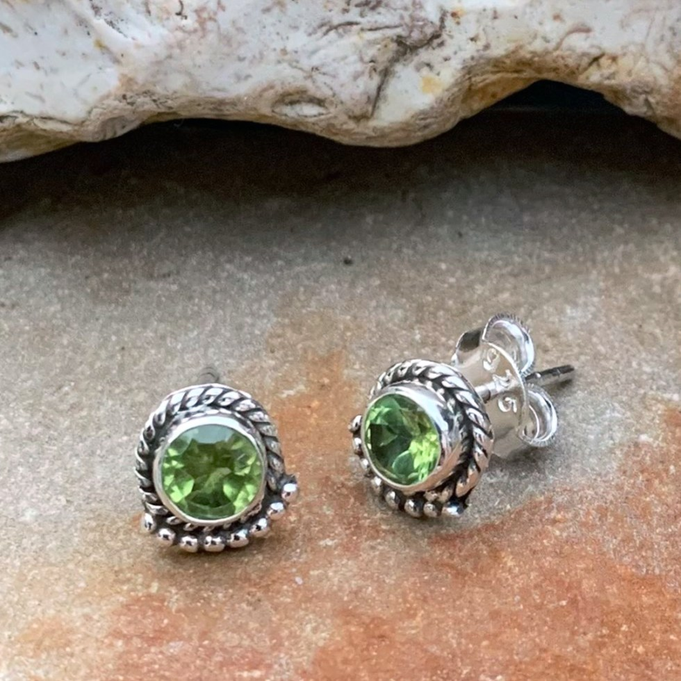 Sterling & Faceted Peridot Studs