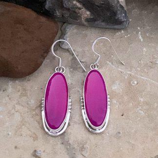 Fuchsia Botswana Agate Earrings