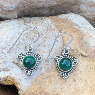 Petite Malachite & Sterling Earrings