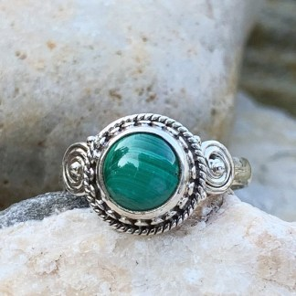 Round Malachite & Sterling Ring