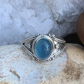 Blue Chalcedony Oval Ring
