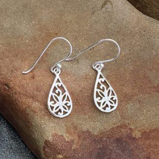 Sterling Floral Teardrop Earrings