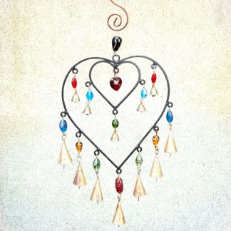 Colorful Double-Heart Wind Chime