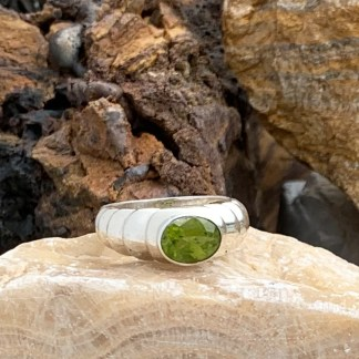 Contemporary Sterling & Peridot Ring