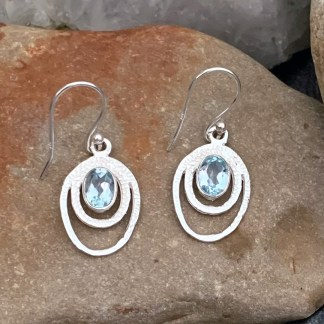 Oval Blue Topaz Earrings