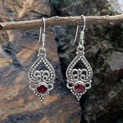 Sterling & Garnet Heart Earrings