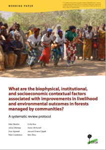 What are the biophysical, institutional, and socioeconomic contextual factors associated with improvements in livelihood and environmental outcomes in forests managed by communities?: A systematic review protocol