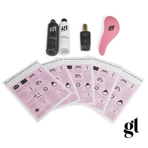 gl aftercare kit with pink/ black handled detangle brush