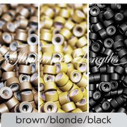 100 x brown silicone micro rings (5mm)