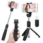 自撮りやビデオ通話にオススメ! iPhone 8、8 Plus、X対応の三脚内蔵型Bluetoothセルカ棒
