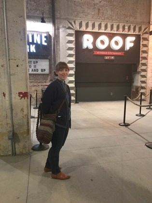 Sarah and the elevator up to the Ponce City Market Roof