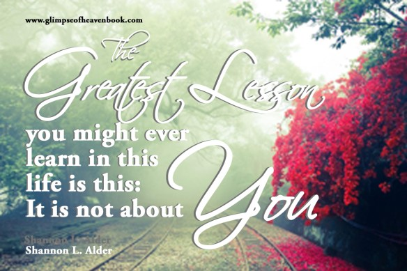 The greatest lesson you might ever learn in this life is this: It is not about You. Shannon L. Alder