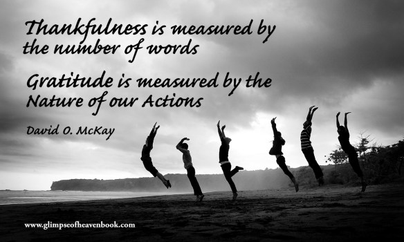 Thankfulness is measured by the number of words. Gratitude is measured by the nature of our actions. David O. McKay