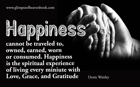 Happiness cannot be traveled to,  owned, earned, worn  or consumed. Happiness is the spiritual experience of living every miniute with Love, Grace, and Gratitude   Denis Waitley