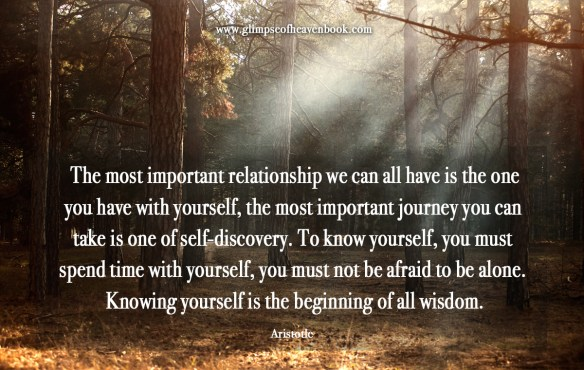 The most important relationship we can all have is the one you have with yourself, the most important journey you can  take is one of self-discovery. To know yourself, you must  spend time with yourself, you must not be afraid to be alone.  Knowing yourself is the beginning of all wisdom.    Aristotle