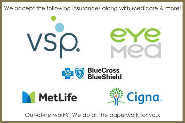 Providers for BCBS, VSP, EyeMed, and more.