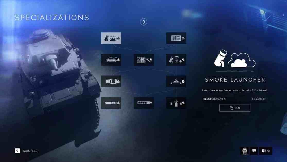 Battlefield V vehicle Specializations