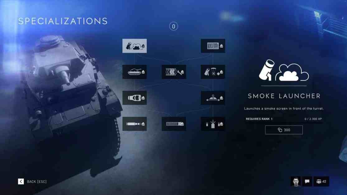 Battlefield V vehicle Specializations