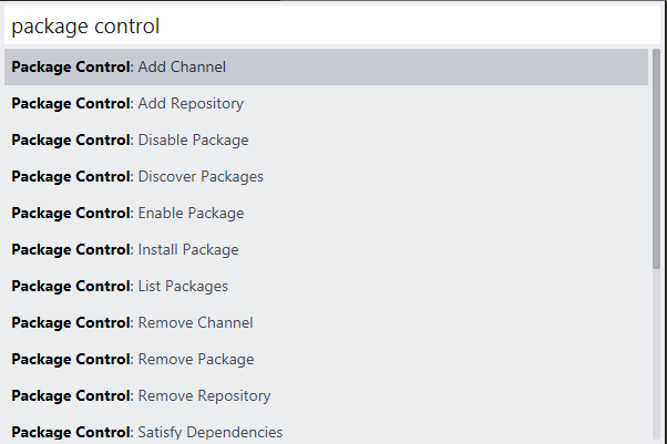 Sublime Package Control Menu