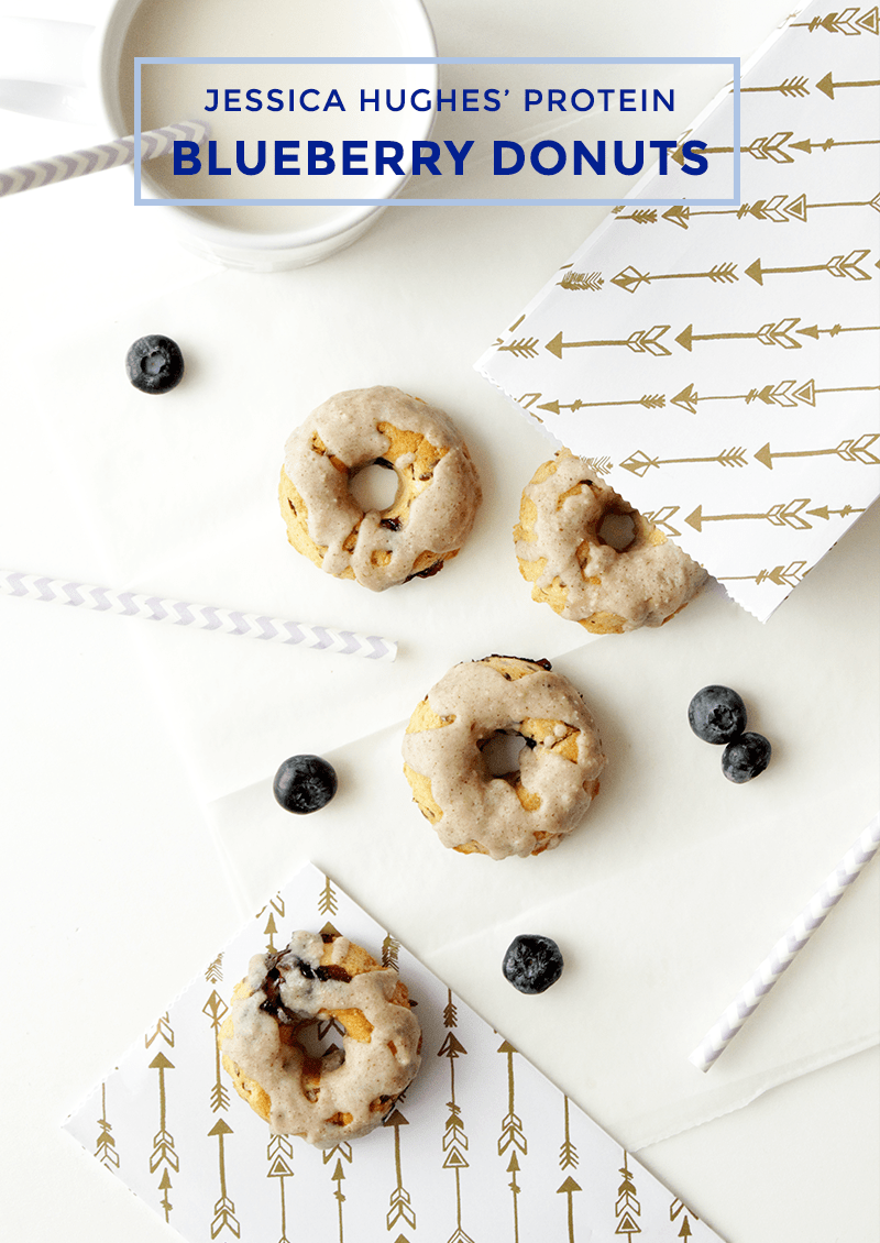This is a recipe for Protein Blueberry Donuts by Jessica Hughes' for Glitter and Bubbles.