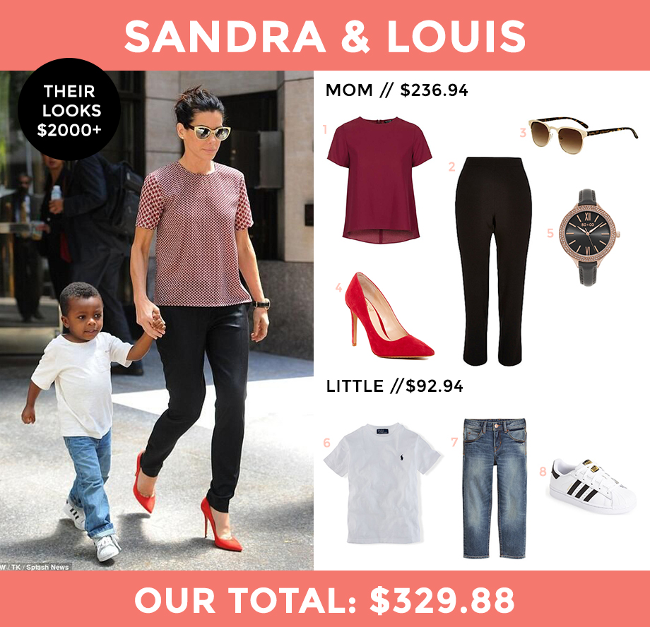 This is a look for less post by Glitter and Bubbles that features Sandra Bullock and her son Louis.