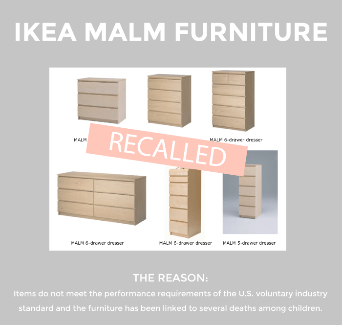 This is a recent recall post by Glitter and Bubbles that features the MALM furniture.