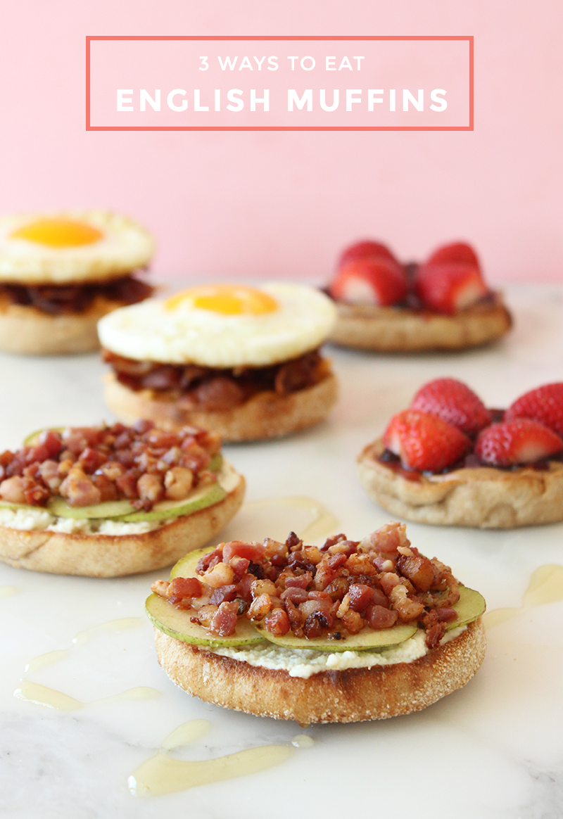 This recipe by Glitter and Bubbles shows how to eat English Muffins three ways.