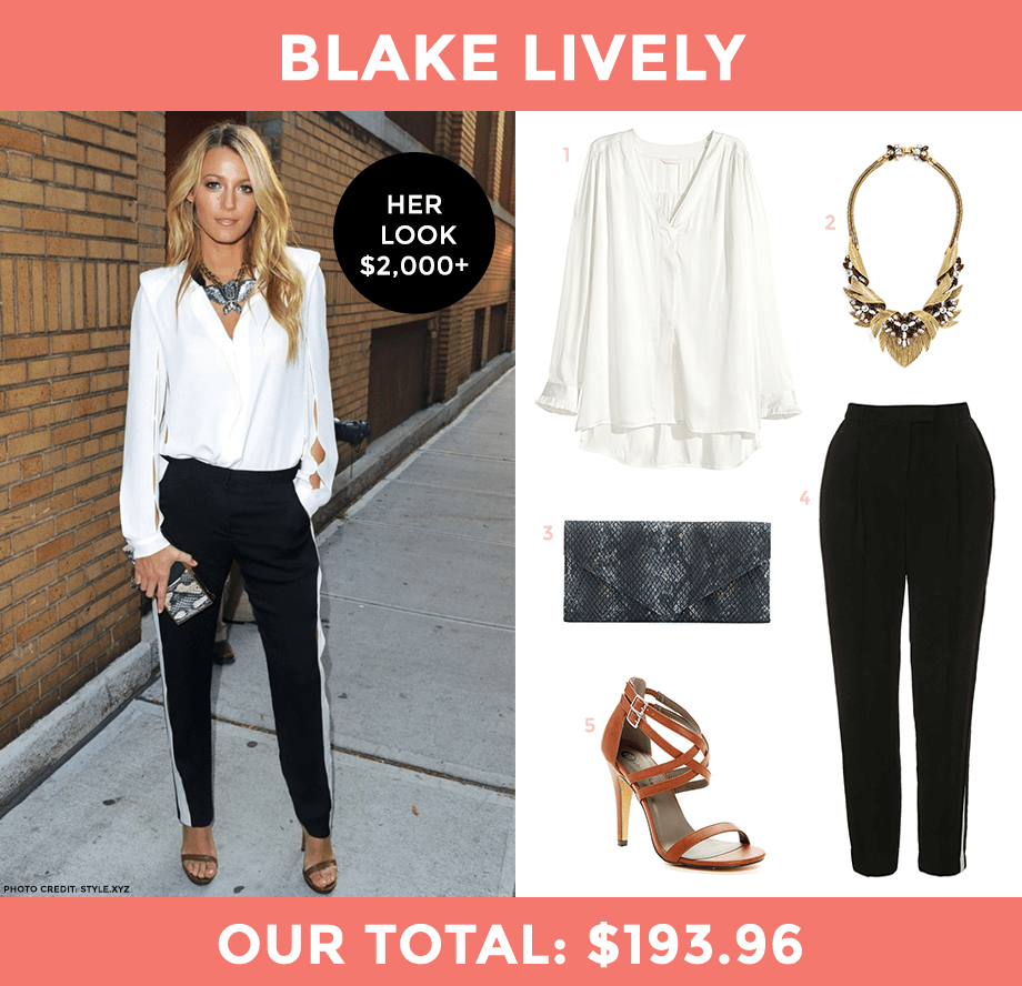 This is a chic look for less post by Glitter and Bubbles featuring Blake Lively.