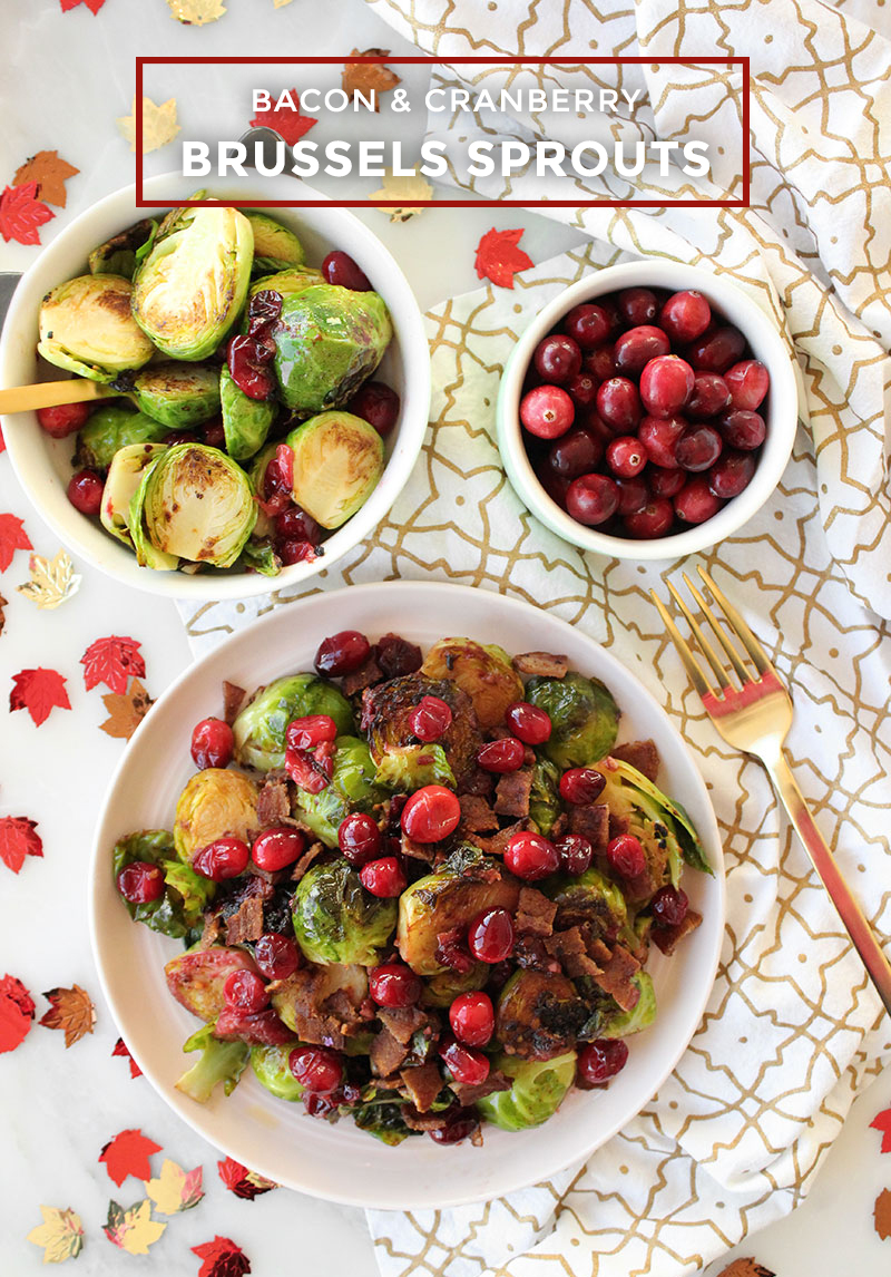 A pink plate filled with cranberry and bacon brussels sprouts for Thanksgiving.
