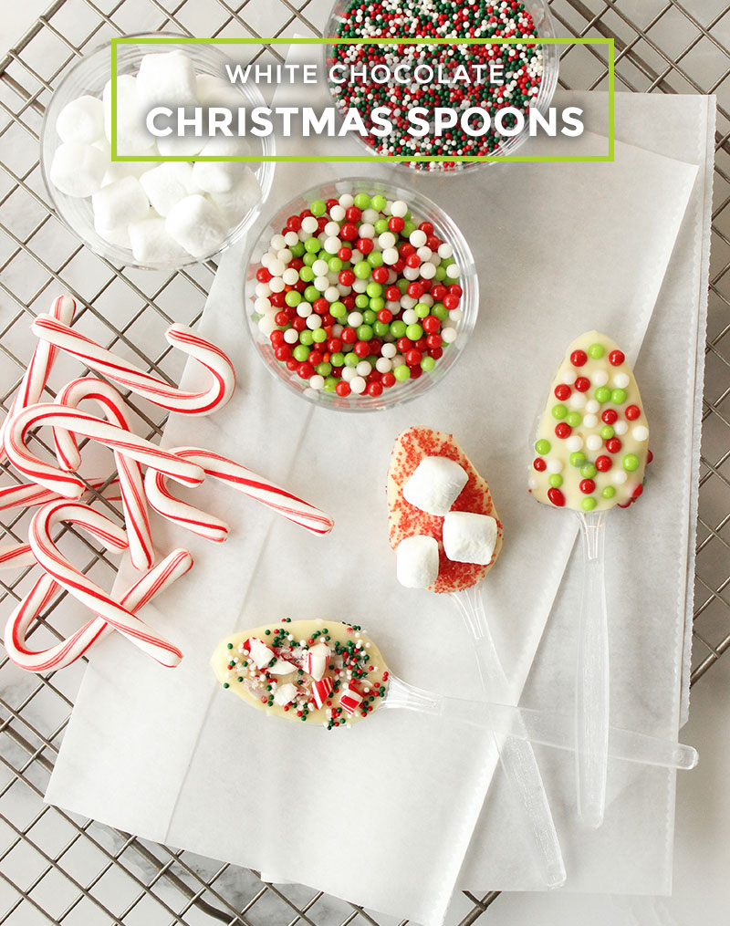 How to make white chocolate Christmas spoons with sprinkles.