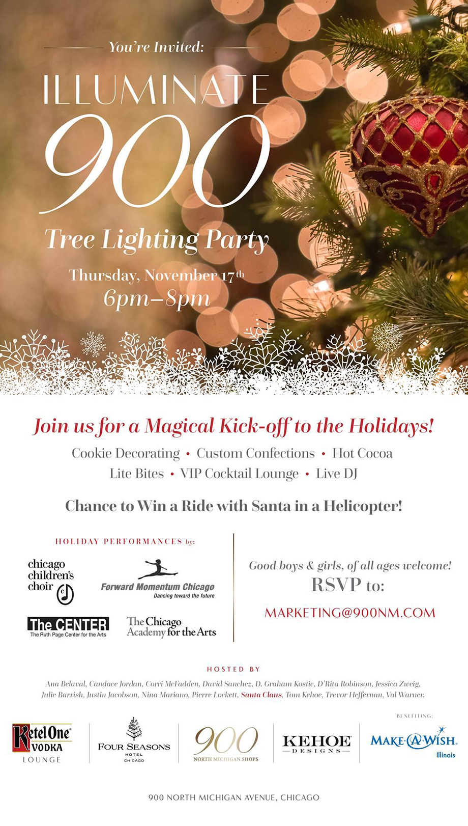 An invitation to Illuminate 900, the 900 shops first tree lighting party.