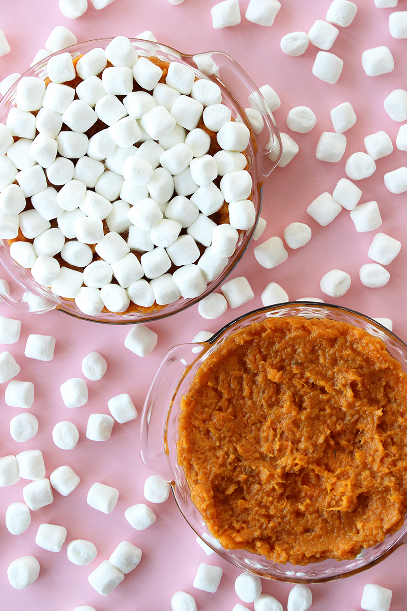 Mashed sweet potatoes with fluffy white marshmallows.