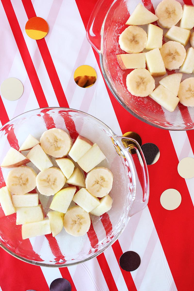Bananas and apples for Christmas Morning Pancakes.