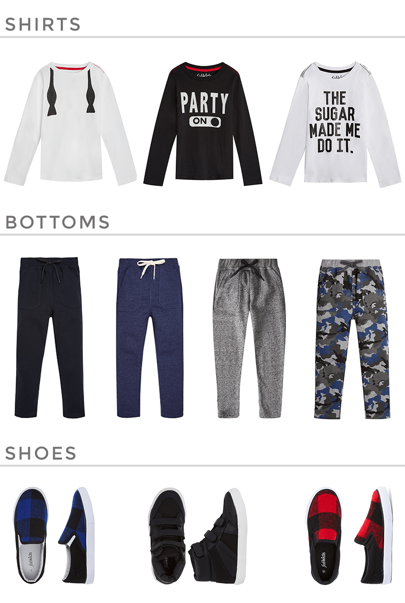 A boys gift guide featuring clothing by FabKids.