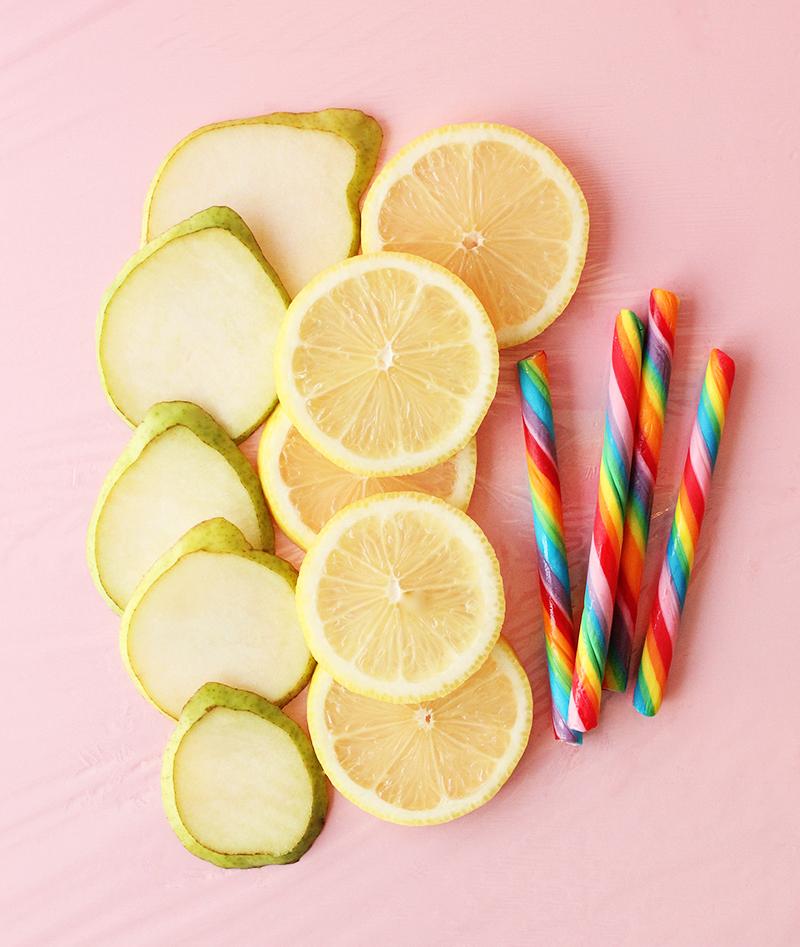 Pears, lemons and rainbow candy.