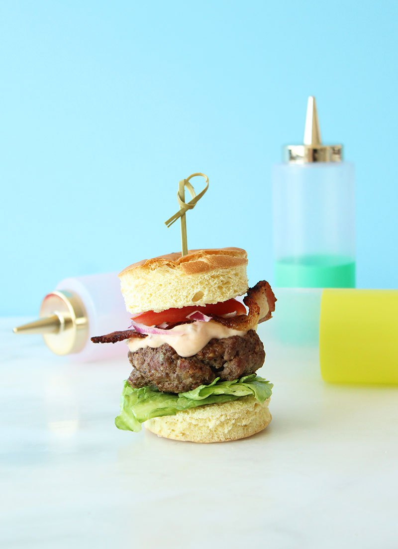 An easy recipe for a yummy cobb salad burger.