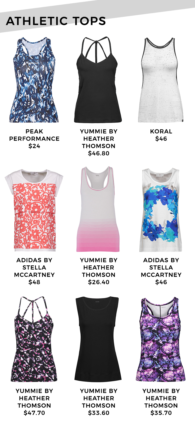 Athletic tops under $50.