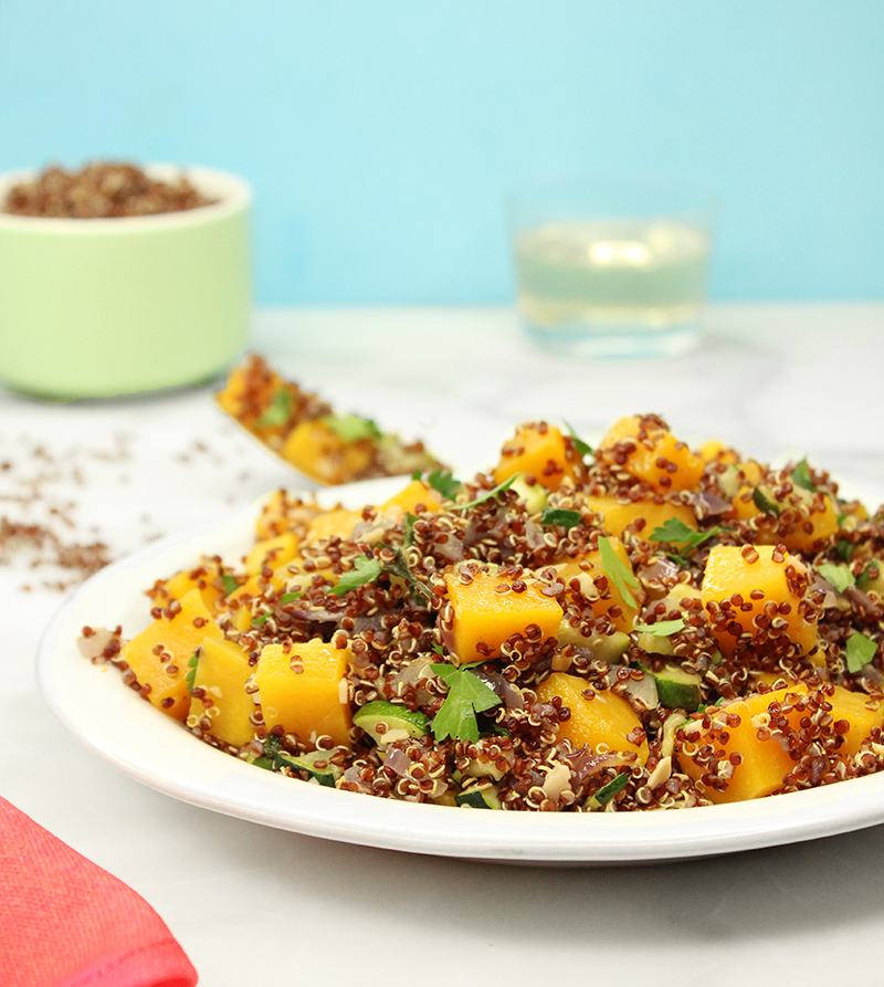 An easy and healthy recipe for butternut squash quinoa salad.