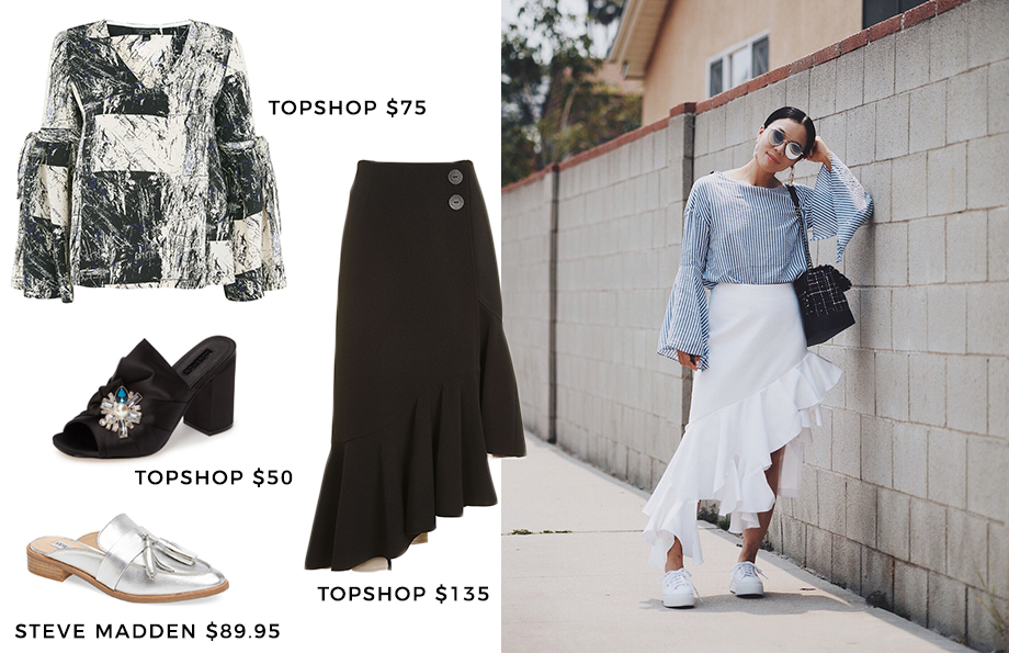 How to wear a skirt with ruffles.